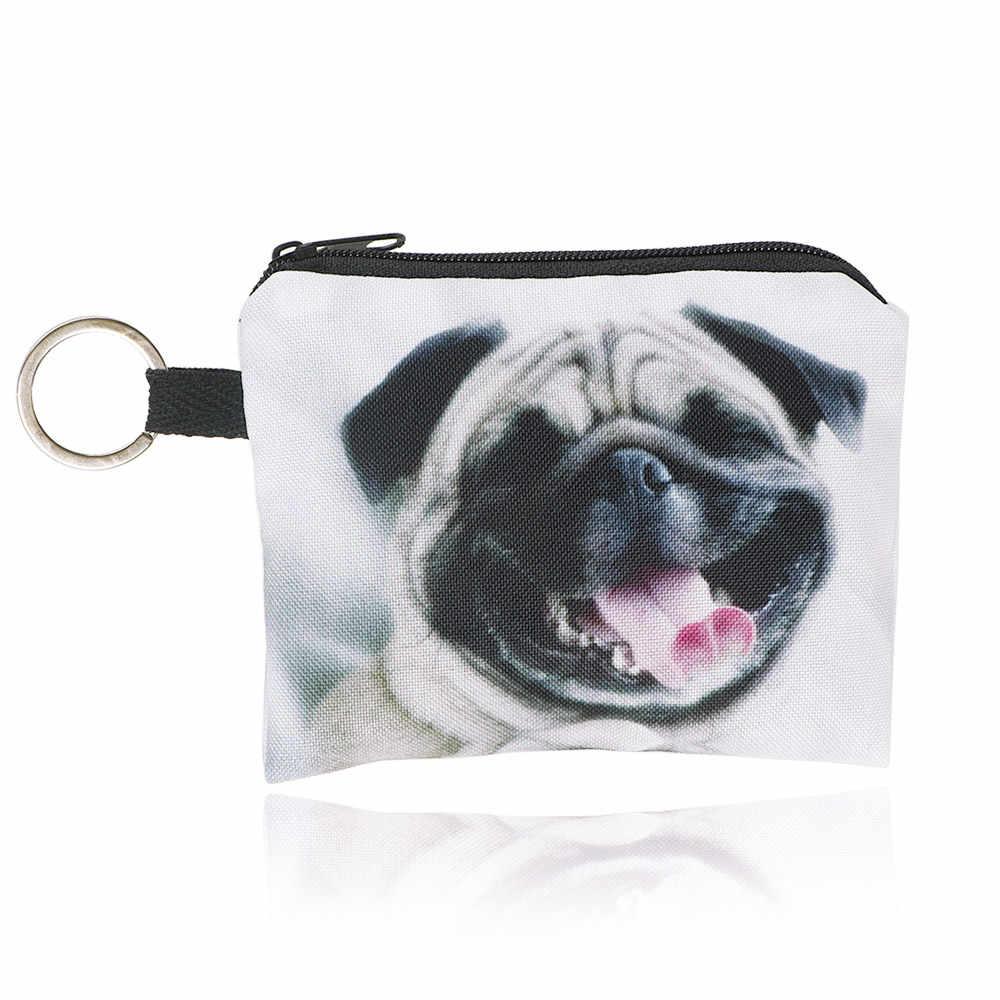 1PC การ์ตูน Pug Dog Unisex ผ้าใบกระเป๋าถือ MINI MINI กระเป๋ากระเป๋ากระเป๋าขนาดเล็กซิปกระเป๋าเหรียญกระเป๋าสตางค์