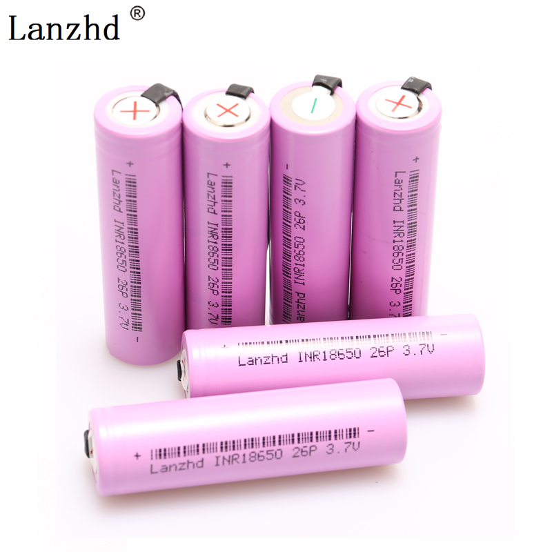 8--52PCS  18650 INR18650 Rechargeable Battery DIY Nickel Sheets battery batteries Discharge 2600mAh Li-ion 3.7V