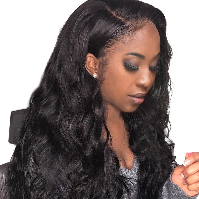 Wigs Human-Hair Glueless Full-Lace for Women with 180%Natural Brazilian Body-Wave Remy
