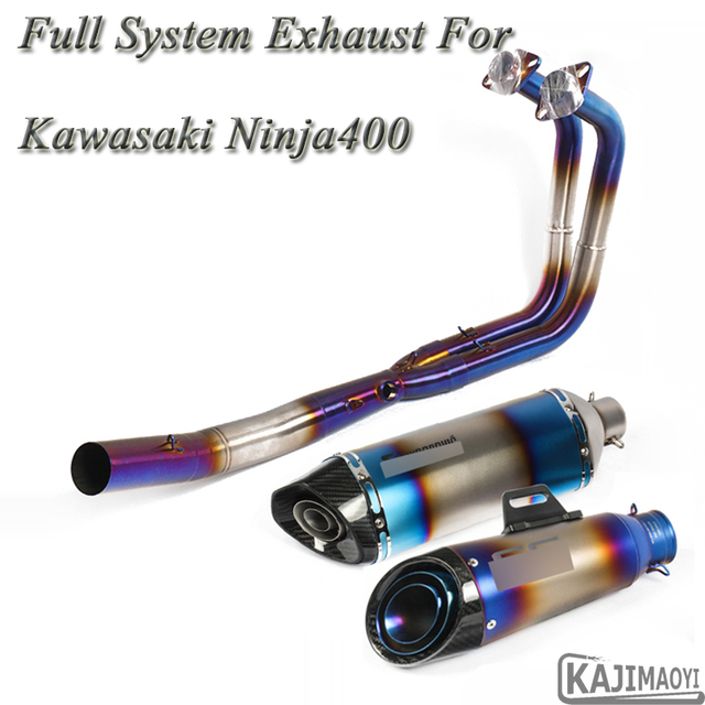 US $89 6 20% OFF|Ninja 400 Motorcycle Full Exhaust System Slip on For  Kawasaki Ninja400 Modified Front Middle Connection Pipe Muffler DB  Killer-in