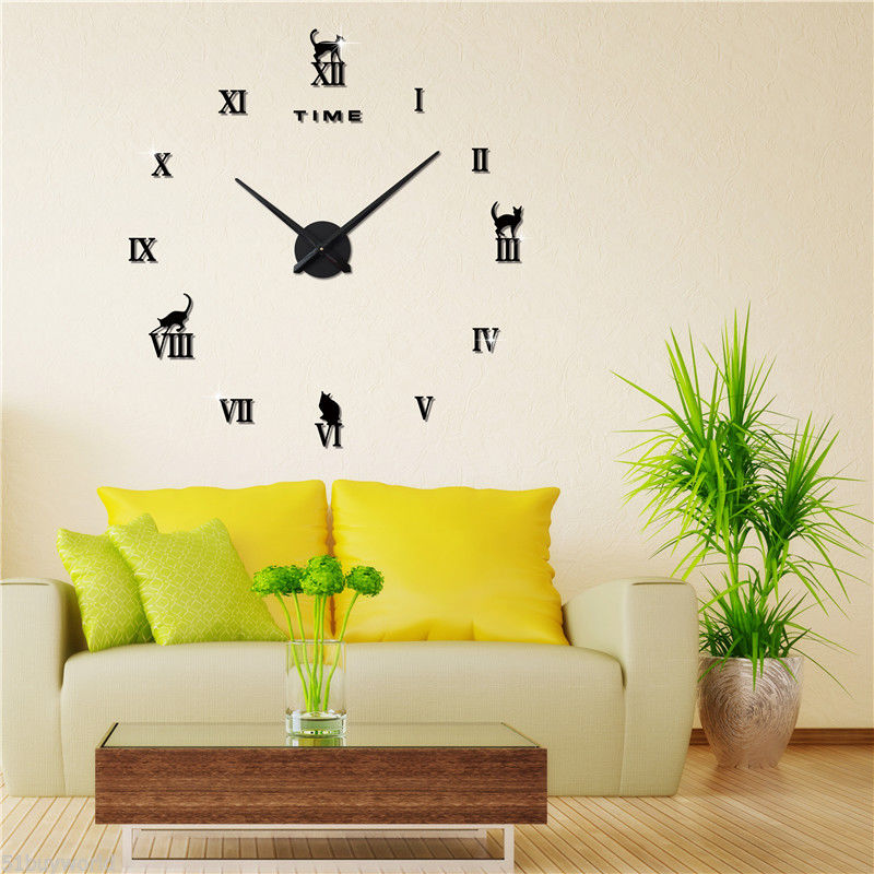DHDL-Self-Adhesive 3D Frameless Wall Clock Style Watches Sticker DIY Room Home Decor Color:black