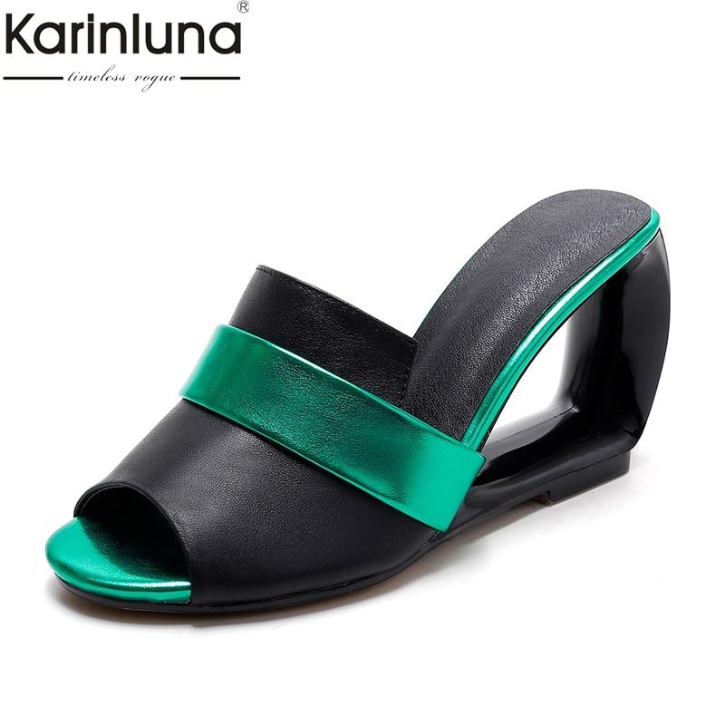 Karinluna 2019 plus size 34 43 dropship summer women s Shoes genuine leather fashion stramge high