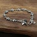 Retro pin lily Skull Cross 100% Real 925 plata esterlina magnética brazalete de la pulsera para las mujeres y los hombres telar bandas de plata 925 GB28