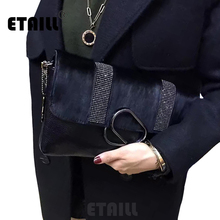 2017 Horsehair+Genuine Leather Fashion Luxury Brand Cowhide Bag Horse Hair Diamonds Day Clutches Envelope Women Messenger Bags
