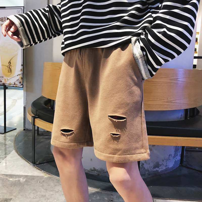 2018 summer new owner of the original hole in the grid stitching tide brand casual sports shorts mens cotton khaki / black M-XL