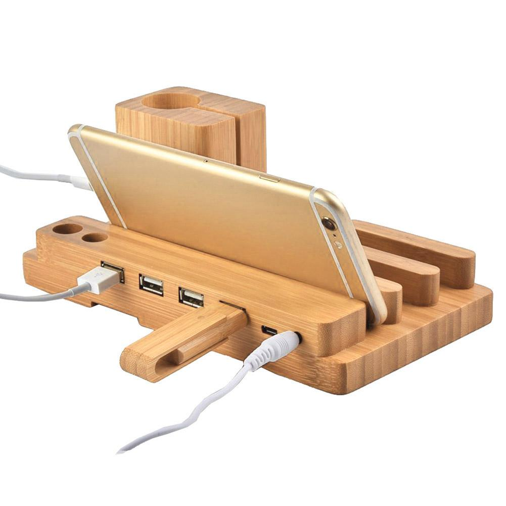 WD06-C Bamboo Wooden 4-in-1 USB 4 Port Micro HUB Charging Stand Station Dock Platform Cradle Holder For iPhone iPad iPod iWatch