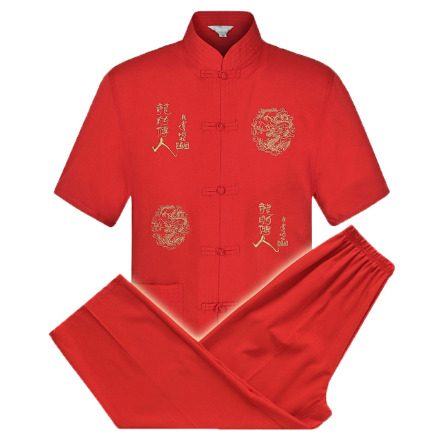 WAEOLSA Men Tangzhuang Tunic Suit Sets Oriental Summer Twinset Man Tunic Shirt And Trouser Set 2PCS Pant Suit Ethnical Ensemble