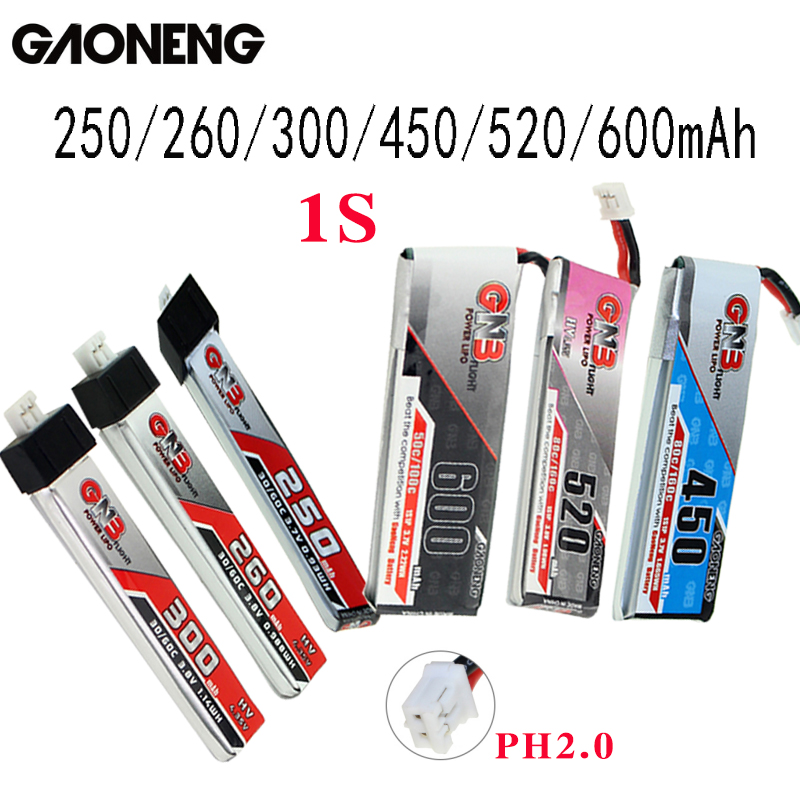 5PCS Gaoneng GNB FPV Batteries 250/260/300/450/520/600mAh 1S PH2.0 Plug Lipo Battery For Emax Tinyhawk Kingkong LDARC TINY image