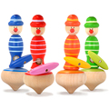 2 PCs  kids wooden rope spinning tops, Children classic toys /wood clown tops, 1pc/pack, 4 colors, free shipping