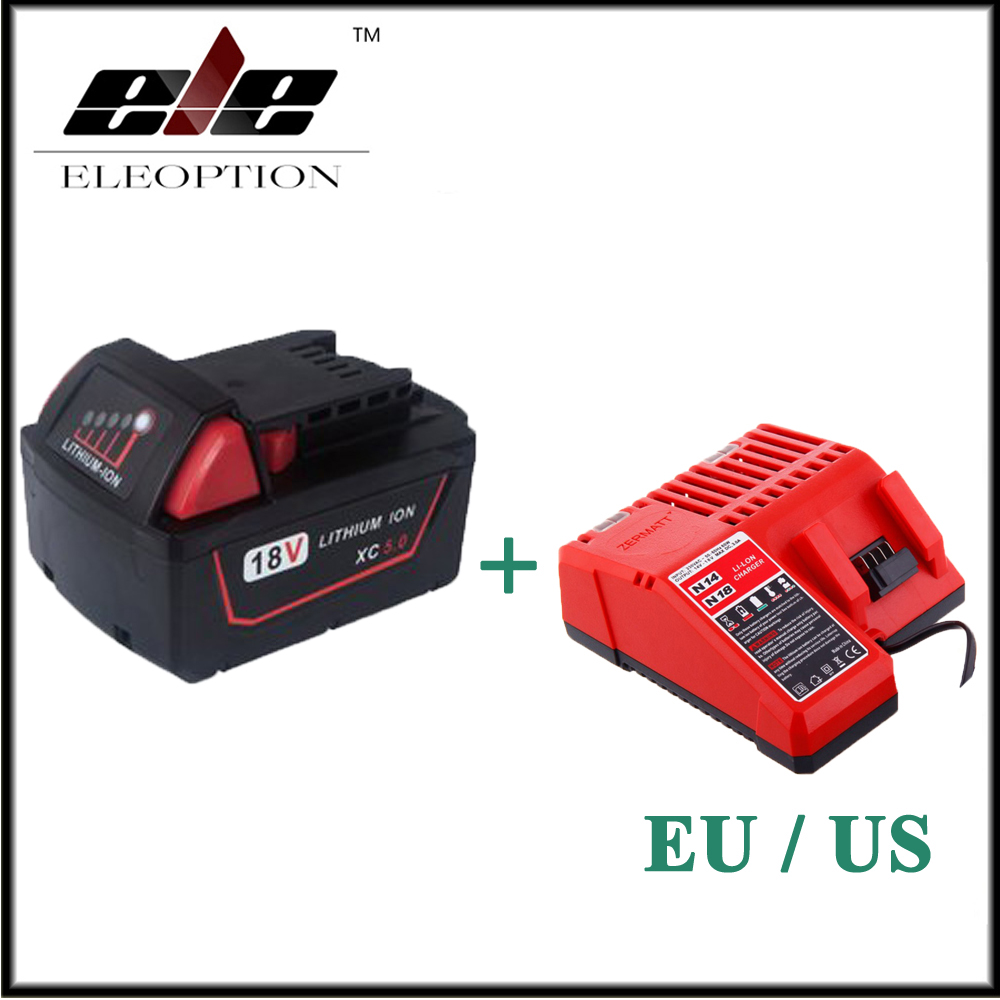 Eleoption 5000mAh 18V Li-Ion Replacement Power Tool Battery for Milwaukee M18 XC 48-11-1815 M18B2 M18B4 M18BX M18BX With Charger power tools replacement li ion battery charger electric screwdriver lithium ion battery charger for milwaukee m12 m18 ac110 230v