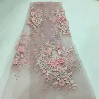 African Lace Fabric 2018 High Quality Lace 3D Flower Lace Fabric Beautiful Applique Stones Lace For Nigerian Wedding Dress F588