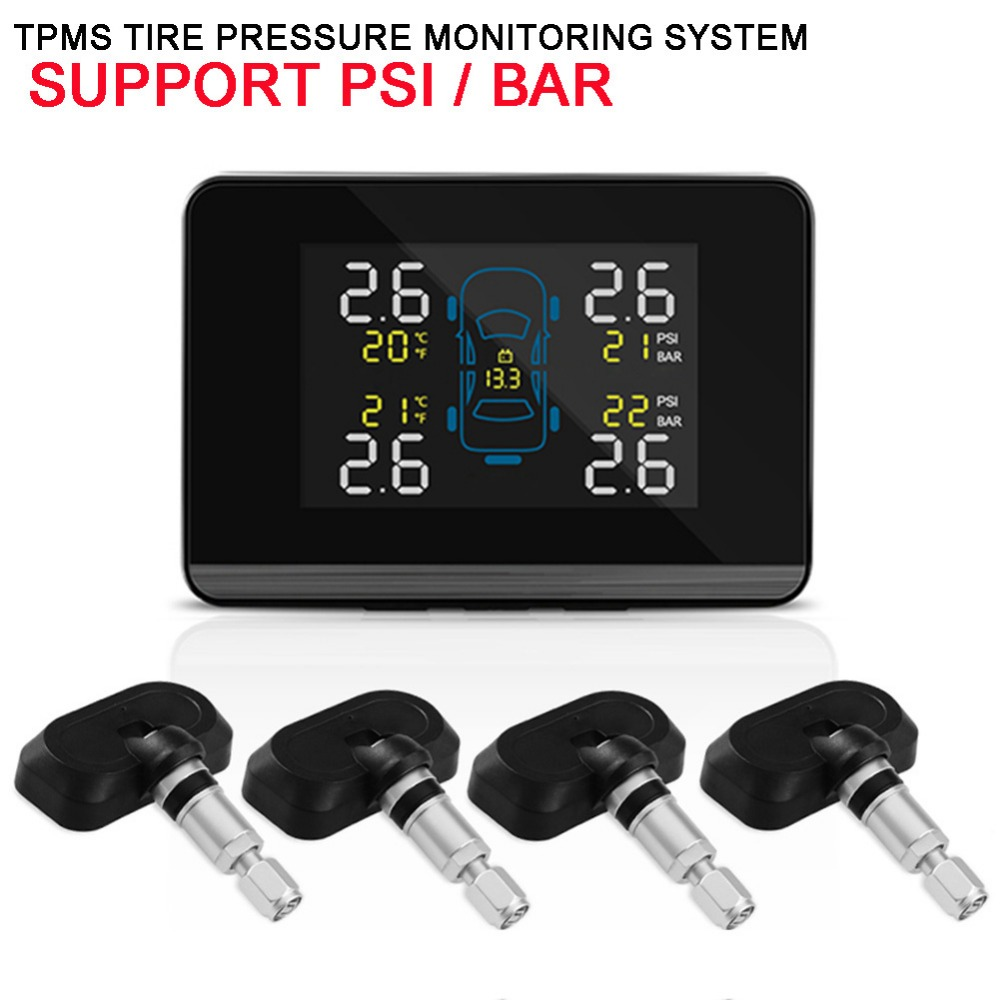 Car Auto Wireless TPMS Tire Pressure Monitoring System with 4 Sensors LCD Display Monitor Cigarette Lighter Socket idoing special tpms newest technology car tire diagnostic tool with mini inner sensor auto support bar and psi