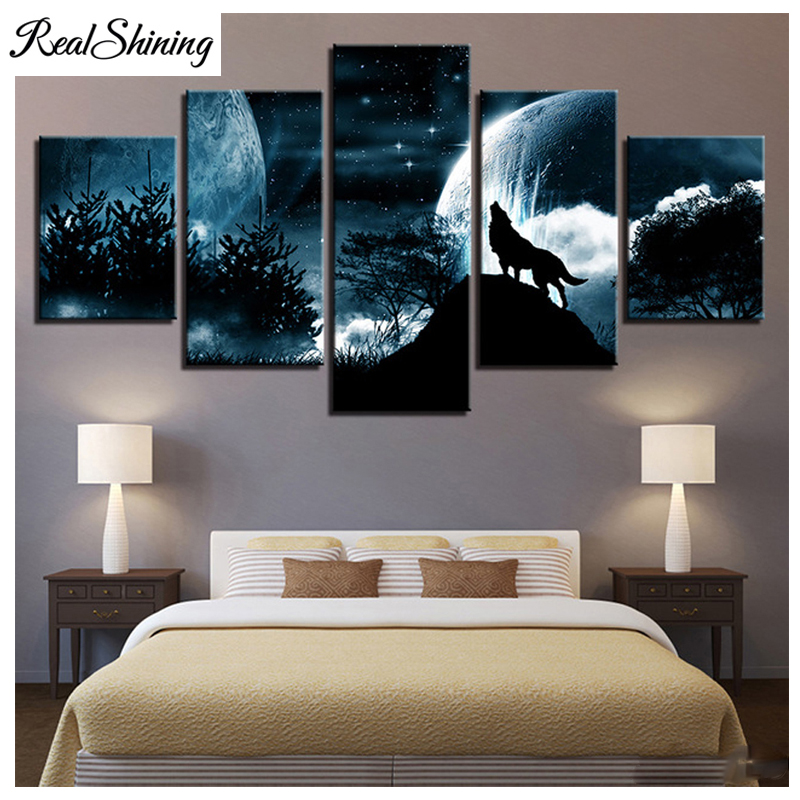 Moon Night Forest Wolf DIY 5D Diamond Painting 5pcs/set,Full square round Drill Rhinestone Embroidery,mosaic Room Decor FS4876