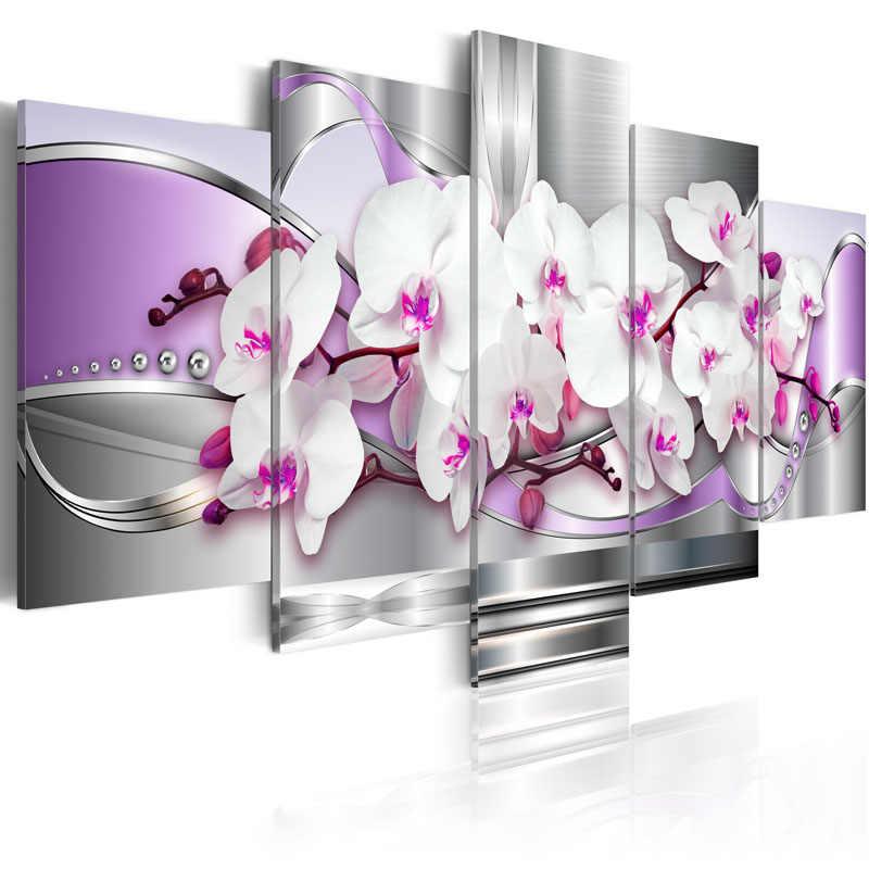 5 sztuk wydruki na płótnie fioletowy storczyk Wall Art obraz na płótnie obrazy obrazy dekoracyjne do salonu oprawione PJMT-43