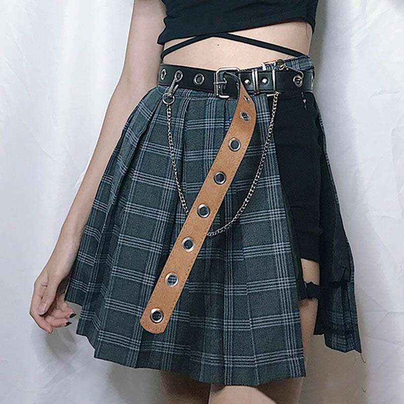 Fashion Gothic Plaid Mini Skirts Women Asymmetric Patchwork Bandage Punk Club Sexy Cool Black Short Skirt And Belt Sets