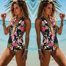 One Piece Swimsuit Printing Backless Swimwear Swiming Suit For Women 2017 Bathing Suit Vintage Beach Push Up Swim Suit Monokini