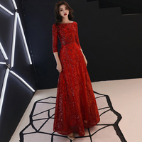Three Quarter Sleeves Evening Dress 2019 Sequined Red Lace up Mother of the Bride Dresses Long Dress Evening Gowns