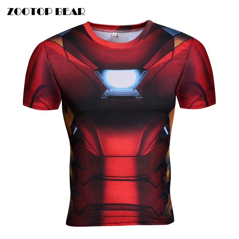 Iron Man T shirts Men Cosplay 3D Tops Tees Short Sleeve Compression T-shirts Crossfit Tshirt Superhero Male Camesita ZOOTOP BEAR