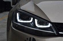 2 unids ABS Negro Faros Lámpara Principal Párpado Tira de Ajuste de la Cubierta de Pegatinas Para Volkswagen GOLF 7 MK7 VII GTI R