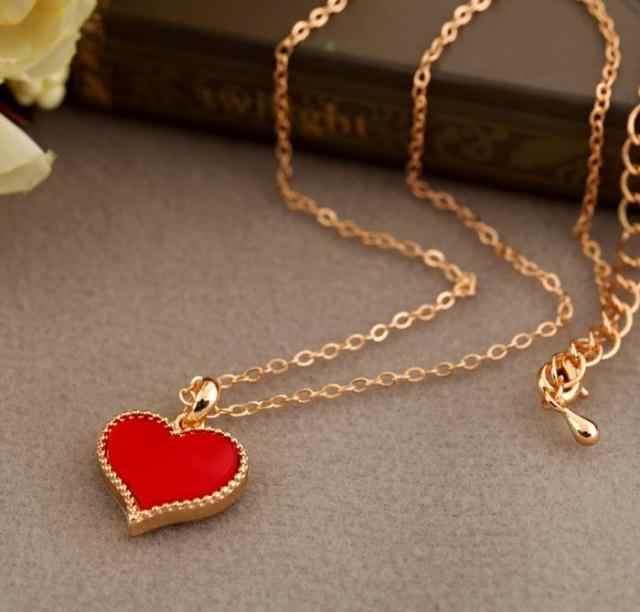 2019 ホットな新トレンディ赤ハートペンダントネックレス鎖骨チェーン女性のための卸売ジュエリーギフト