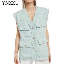 YNZZU New fashion Women Astrid Tweed Vest Jacket V neck Pockets Buttons sleeveless coat 2019 Autumn Loose feminino outwear YO872