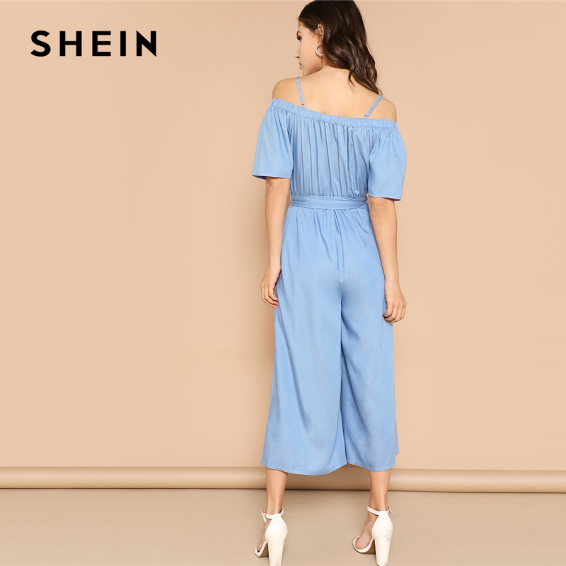 SHEIN Blue Cold Shoulder Wide Leg Strappy Jumpsuit 2019 Women Mid Waist Long Trouser Highstreet Spring Short Sleeve Jumpsuits 2