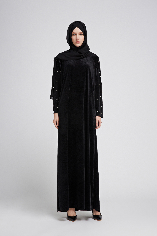 c3785aae18 2019 Dubai Abaya Velvet Tassel Pearls Beading Draped Slim Muslim Hijabs  Dress Elegant O Neck Islamic Women Clothing Arab Tunic Robes From Cravat,  ...