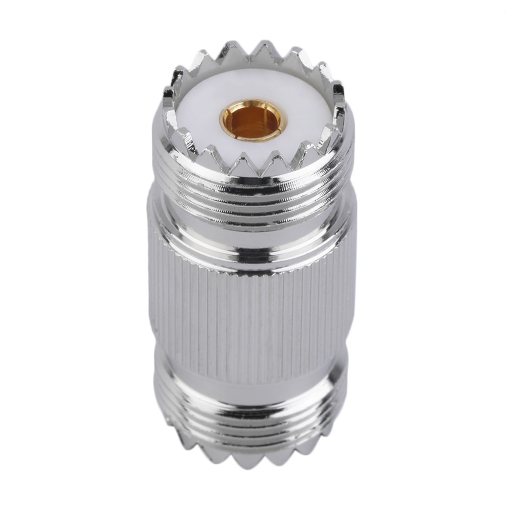 UHF PL-259 SO-239 Female To UHF Female Jack RF Straight Connector Adapter Nickel-plated Machined Brass Construction