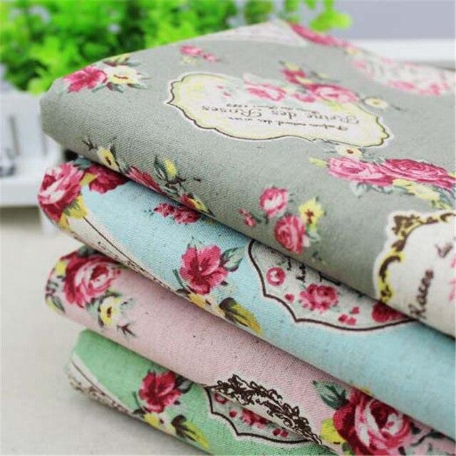 2016 New 50x145cm 5 Color Vitoria Retro Rose Cotton Linen Fabric For DIY Curtains Table Cloths Cushion sofa Cloth Fabric