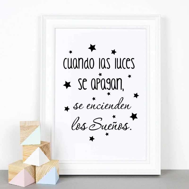 Spanish Kids Bedroom Art Decor Canvas Painting ,The Dreams Come On  Inspirational Spanish Quote Prints Baby Nursery Room Wall Art