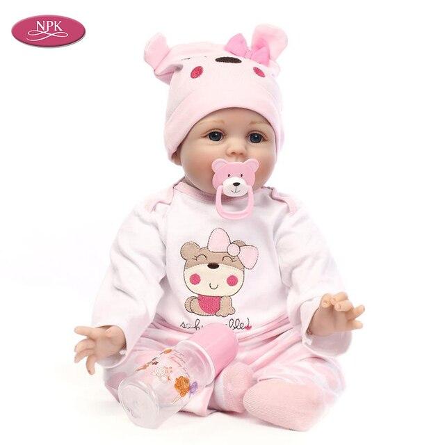 31d219cefbfc1 NPK 22 pulgadas nueva llegada lifelike niño bebé hecha a mano de silicona  vinilo adorable muchacha