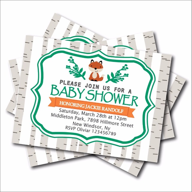 20 pcslot fox baby shower invitations woodland birthday party 20 pcslot fox baby shower invitations woodland birthday party invites jungle birthday party decoration stopboris Gallery
