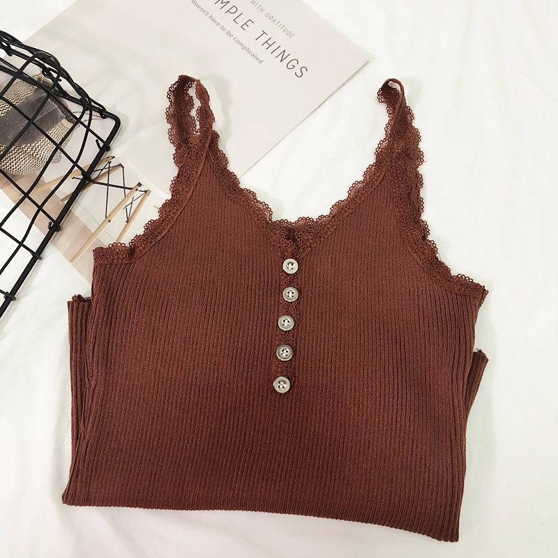 Camis Top summer lace stitching bottom strap camisole female retro chic sexy Crop Top metal button sleeveless Tank Top Women (5)