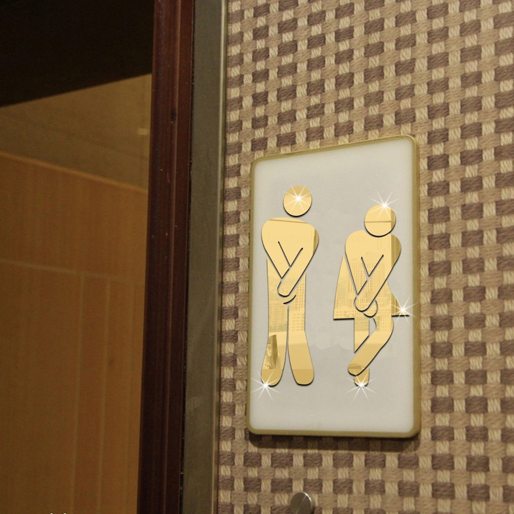 Removable Mirror Bathroom Wall Stickers3D Bar Toilet Male And Female Sign