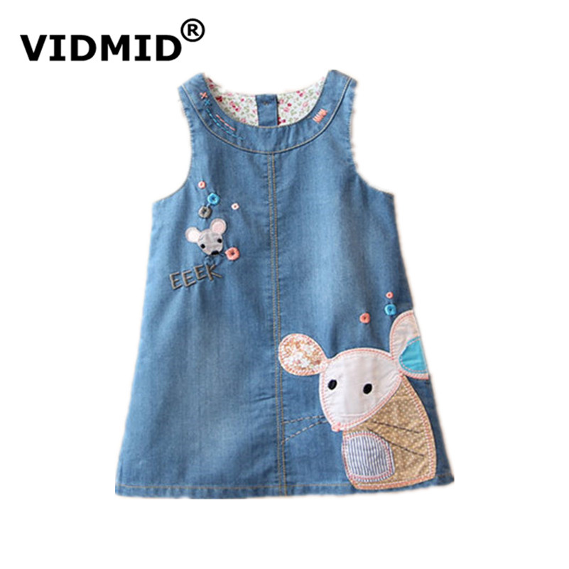 VIDMID New Fashion 2017 Summer Girls Dress Cute Denim Cartoon Printed Children Clothes High Quality Jeans Kids Dresses 6003 01