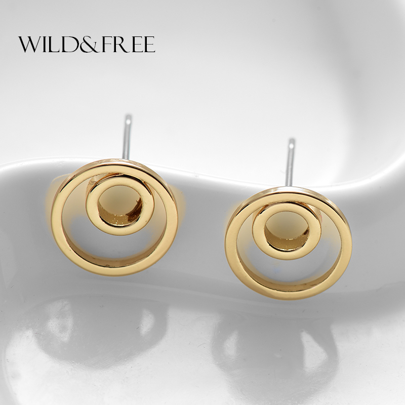 WILD & FREE Fashion Geometric Circle Stud Earrings Minimalist Double Round Earrings Girl Gift Temperament Brincos 2017 New