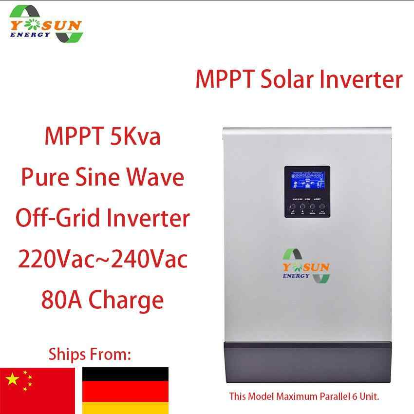 5Kva MPPT 4000W Solar Inverter 230Vac Off-Grid Pure Sine Wave Inverter Build-in MPPT 80A AC Charge 48Vdc Free Parallel Card