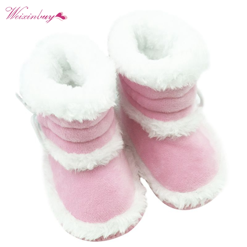 Factory Price! Winter Baby Girls Snow Boots Infant Solid Lace Up Shoes Prewalker Anti-slip Boots 0-18 Months
