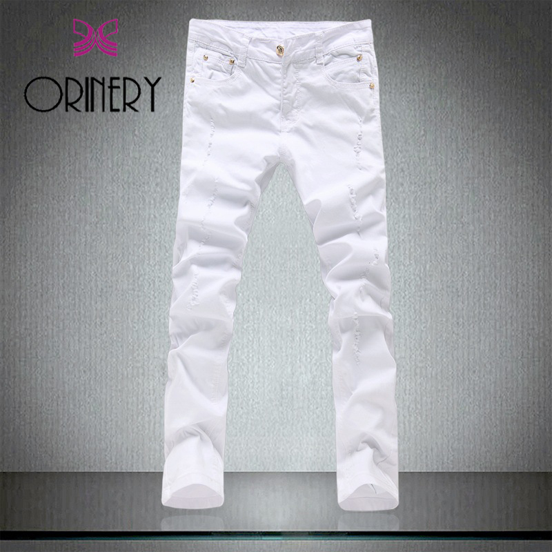 ORINERY 2018 New Designer Ripped Jeans Men High Quality Elastic White Jeans Fashion Skinny Trousers Pencil Pants Brand Clothing