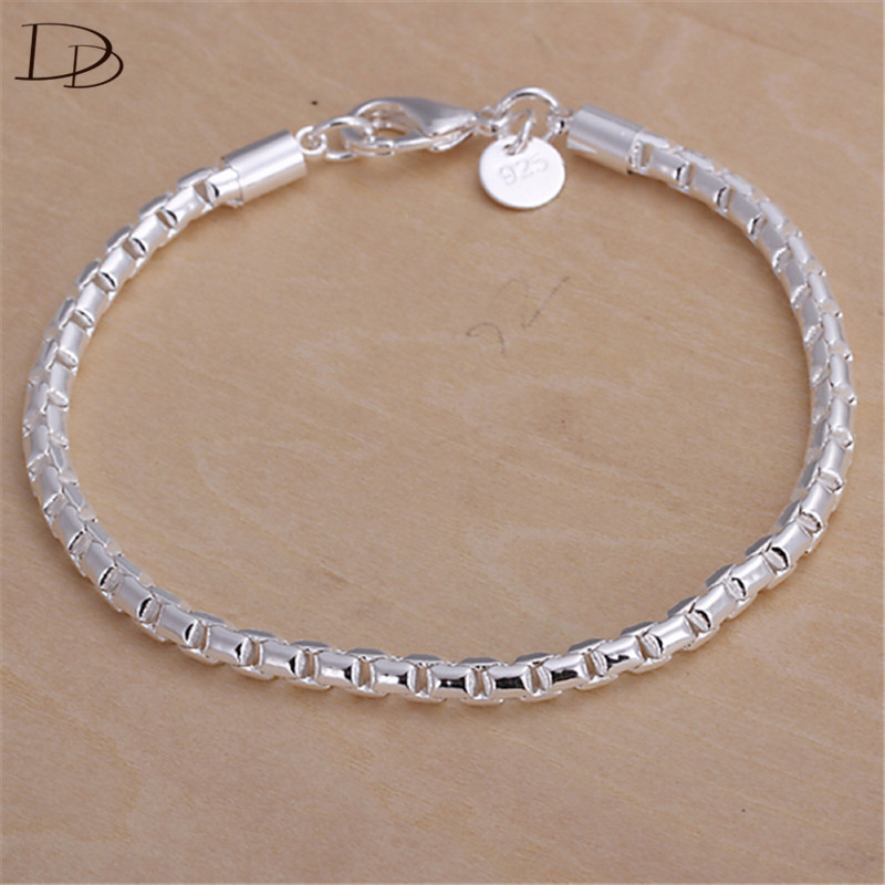 White Gold Chain Bracelet: White 585 Gold Color Chain Bracelet Snake Lattice Charm