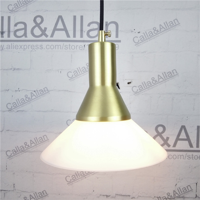 All brass single head hanging light fixture 100% copper material with white glass shade pendant lamp LED bulb lighting fixture  heavy bullet head bobbin holder with ceramic tube tip protecting lines brass copper material