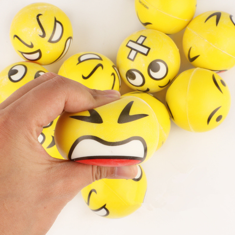 6pcs/lot Modern FUN Emoji Face Squeeze Balls Stress Relax Emotional Hand Wrist Exercise Anti-stress Balls Toys For Children