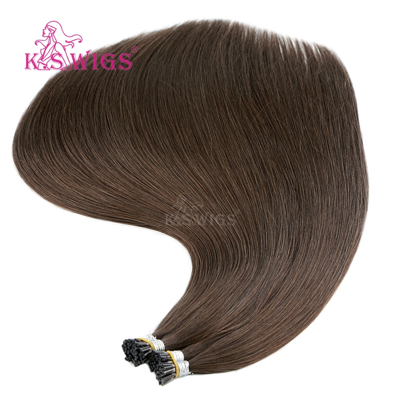 K.S WIGS Remy Pre Bonded Stick Human Hair Double Drawn Straight I Tip Fusion Hair 25s/pack 20'' 28''