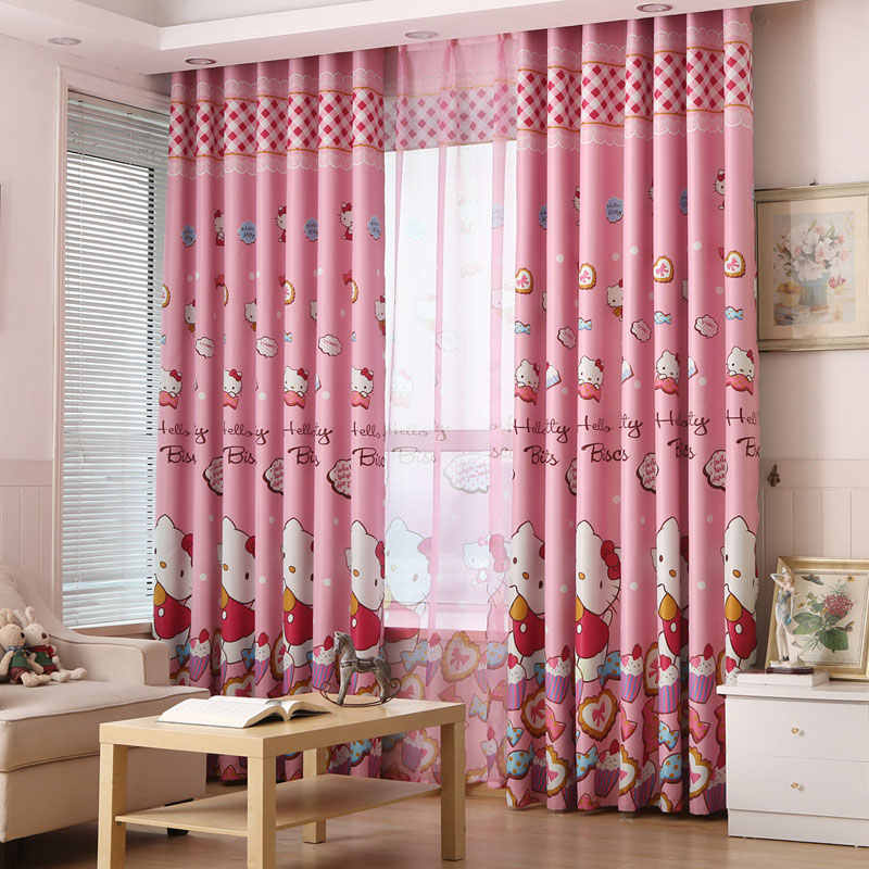 Cute Hello Kitty Cartoon Printed Curtains for Kids Baby Room Children Bedroom Living Room Curtain Drapes Panel Window Treatments