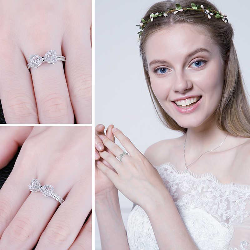 JewelryPalace Bow Knot ครบรอบ Cubic Zirconia แหวนเงิน 925 แหวนเงิน 925 เครื่องประดับ Fine เครื่องประดับ