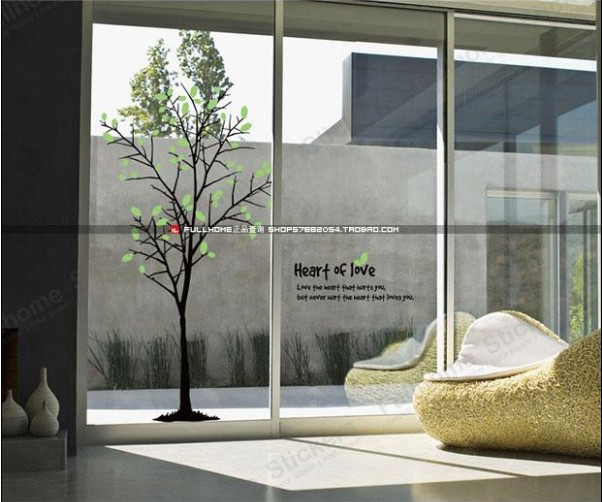 Small trees window stickers wall stickers home furnishing shops living room sofa background wall sticker in wall stickers from home garden on