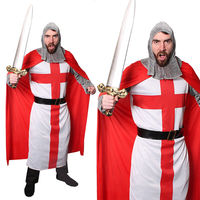 ADULTS CRUSADER KNIGHT CAPE COSTUME ST GEORGES DAY SUPPORTER MEDIEVAL ROMAN WARRIOR MENS OUTFIT FANCY DRESS COSPLAY COMIC
