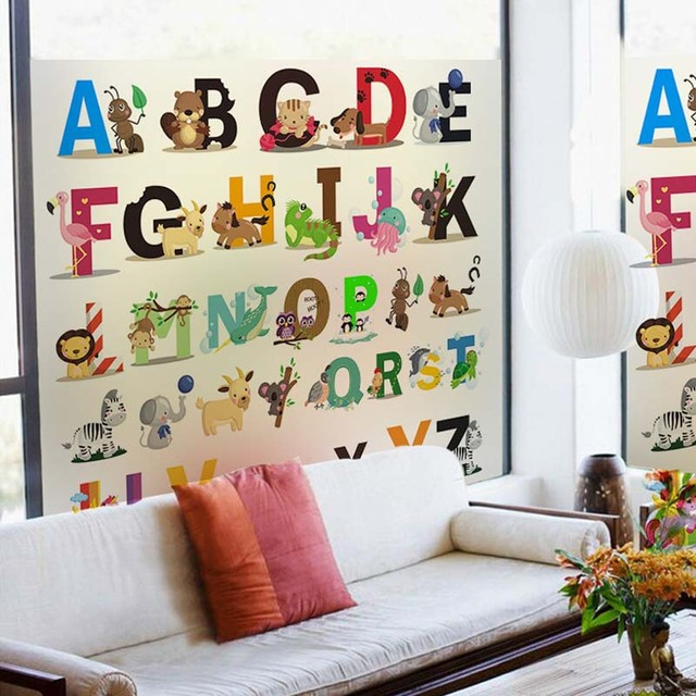Glass Front Kids Room Decor: Alphabet Wall Stickers Colorful Transparent Glass Film