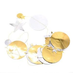 Image 5 - 4メートルミラー紙スターラウンドゴールド花輪フラッシュバナ誕生日結婚式のパーティーの好意ベビーシャワーカーテン装飾用品