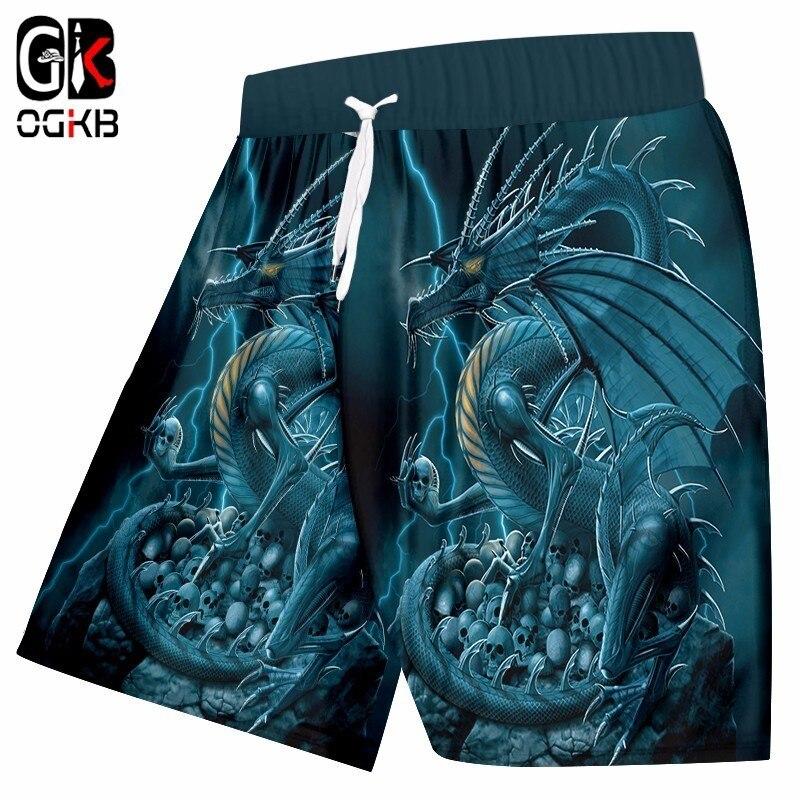 OGKB Unisex Hiphop Streetwear Punk Style Quick Dry Beach Shorts Men's Summer Funny Print Blue Dragon 3D Board Bermuda Shorts 5XL